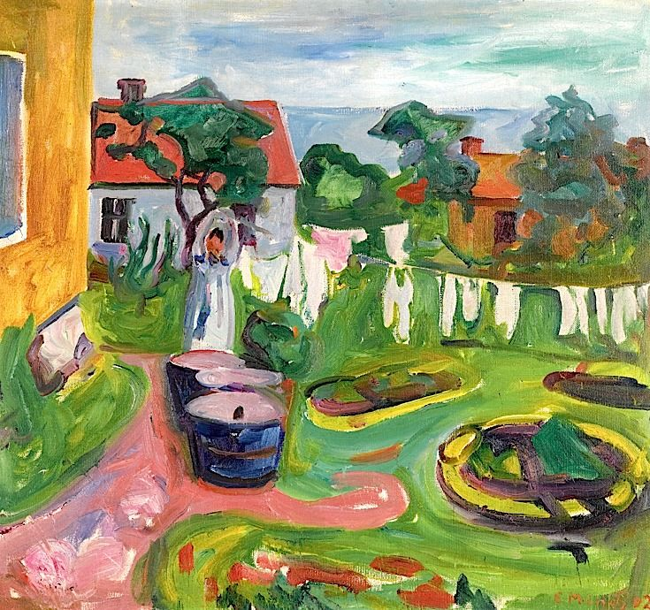 Edvard Munch 1863 - 1944 Klestørk I Åsgårdstrand (Clothes On A Line In Åsgårdstrand)