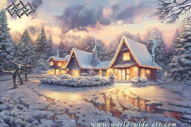 Christmas Lodge - Thomas Kinkade - World-Wide-Art.com $230.00 #Kinkade #Christmas #Holidays