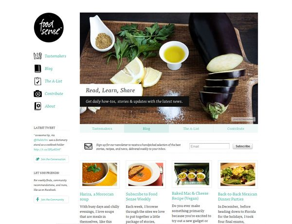 Clean website design example: Food Sense