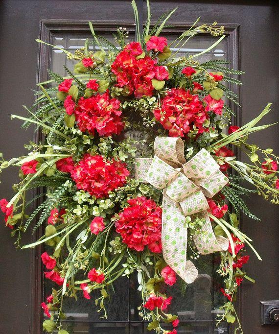 Spring Door Wreaths, Wild and Woodsy Wreath, Spring Wreath, Spring Summer Wreath, Red Hydrangea Wreath