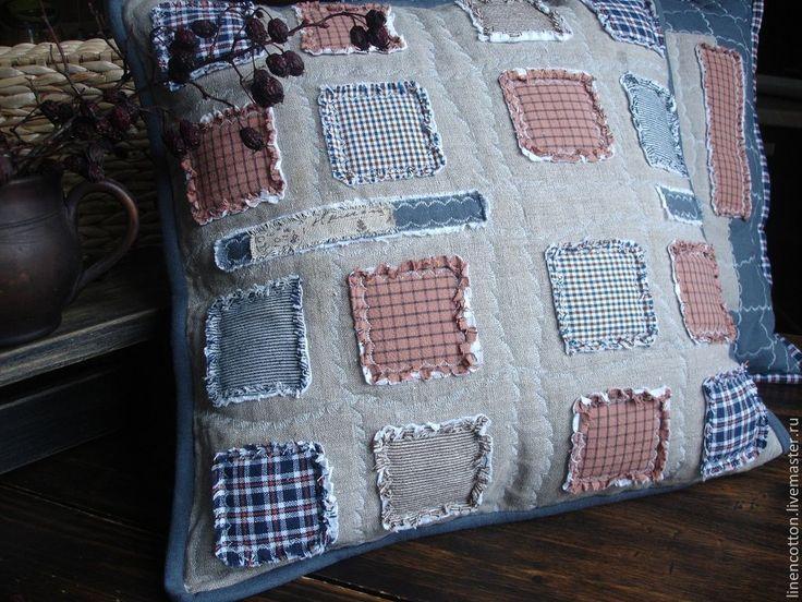 """Купить """"Северный остров"""" лоскутные наволочки - серый, rag quilt, эко-стиль, шале, Север"""
