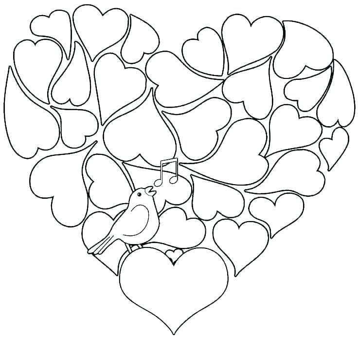 Hearts Coloring Pages For Adults Printable Valentines Coloring