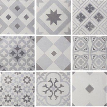 Carrelage sol et mur blanc & gris effet ciment Gatsby l.20 x L.20 cm | Leroy Merlin