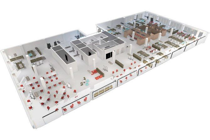 A 3-D digital model of an office space in Washington, D.C. Photo courtesy of Floored