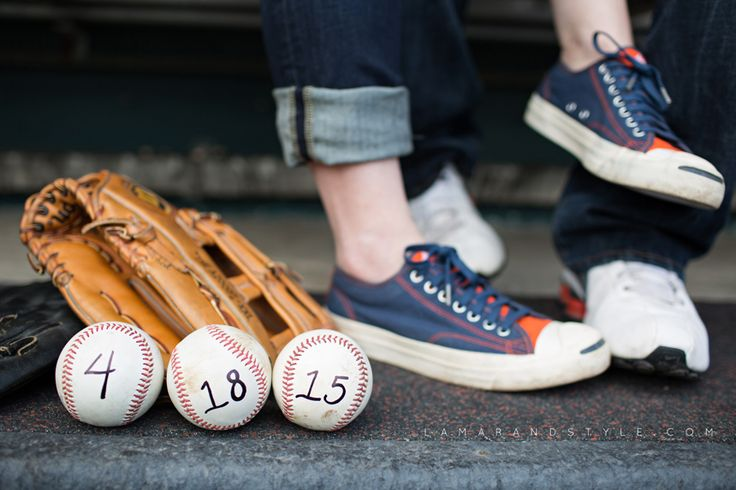Brandon and Becki. Detroit Tigers Engagement session at Comerica Park