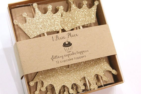 Large Gold Princess Crown Glittery Cupcake Toppers  by 1PixiePlace