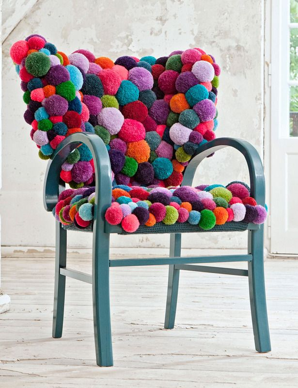 pouf ball chair - what if you didn't have to reupholster?  what if you could just attack your old chair with some spray paint and a glue gun?