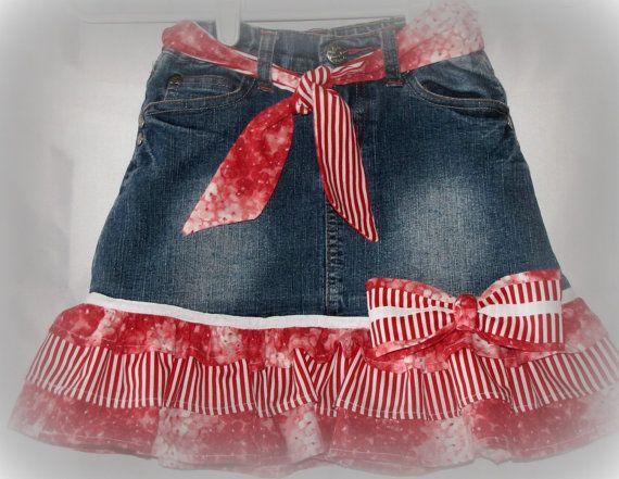 Upcycled Repurposed Denim Jean Skirt Girls 67 by TwoCottageChicks, $15.00.  Darling!