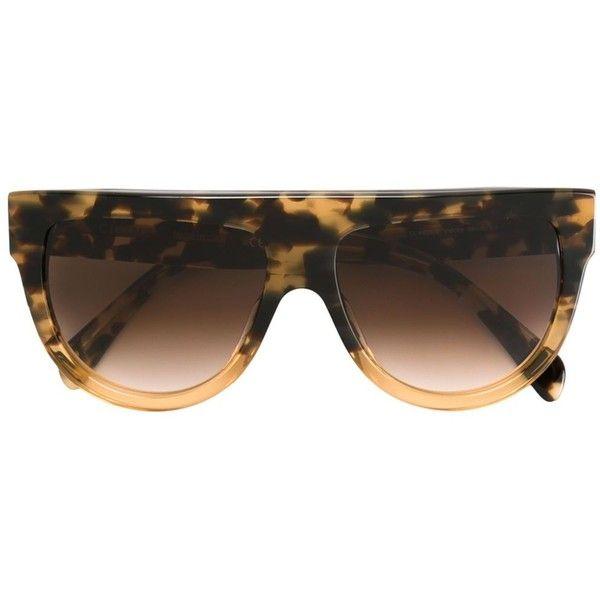 Céline Eyewear 'Shadow' sunglasses (1 660 PLN) ❤ liked on Polyvore featuring accessories, eyewear, sunglasses, brown, brown glasses, acetate glasses, brown sunglasses, celine sunglasses and celine glasses