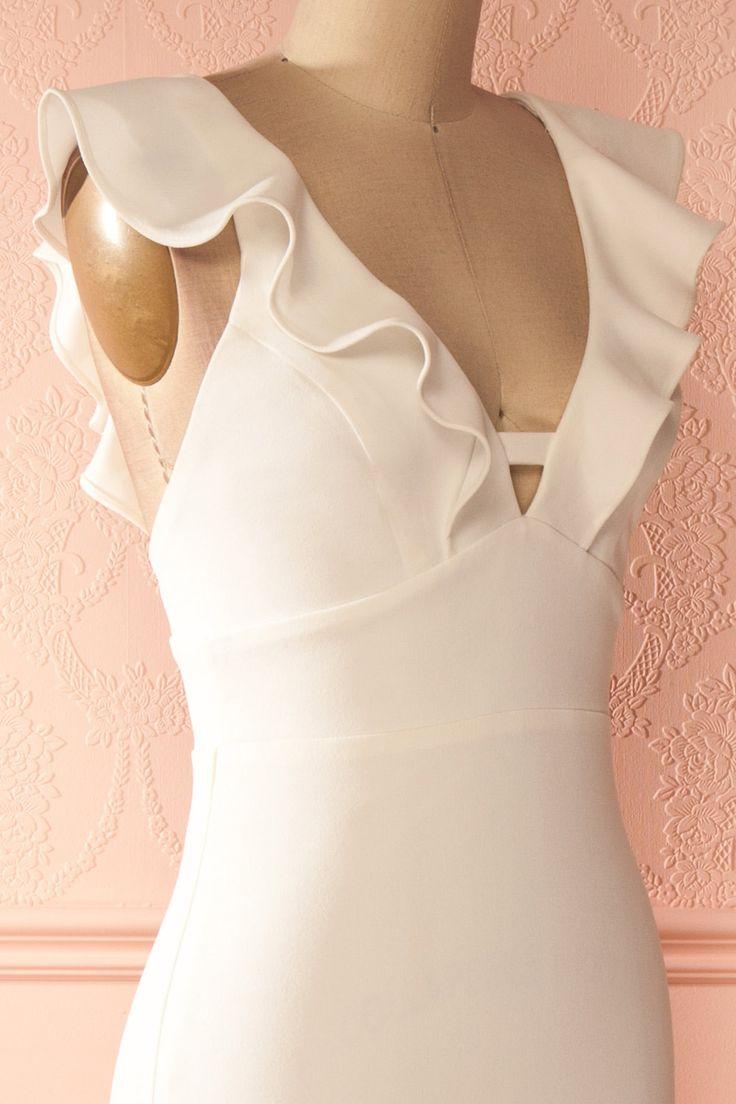 Robe longue blanche à col volant - White frill neckline maxi dress