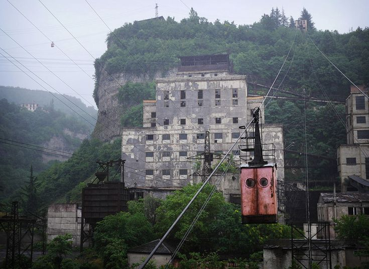 The mining town of Chiatura, Georgia, surrounded by steep cliffs, is criss-crossed by a network of aging Soviet-era aerial tramways that are still in use today.