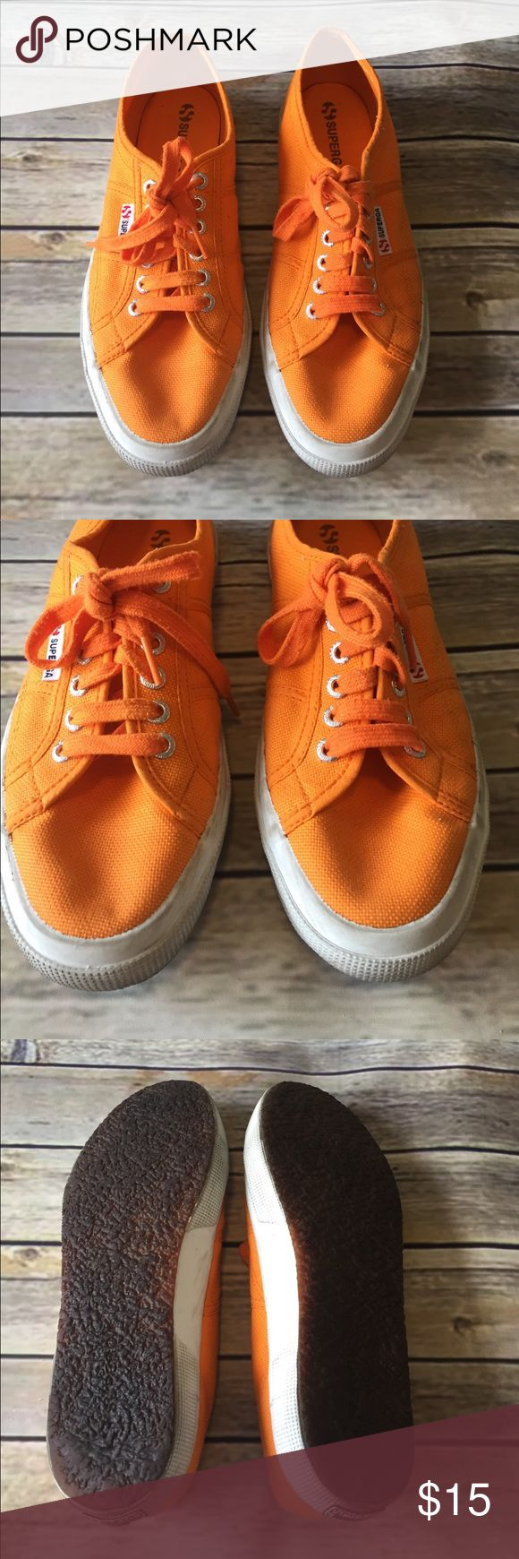 GUC SUPERGA sneakers GUC SUPERGA sneakers with minimal wear in bright orange.  Women's size 10.   Only problem with fabric portion is some marks along back as shown.  Rest has no staining.  Worn infrequently.   Pet/smoke free home. Superga Shoes