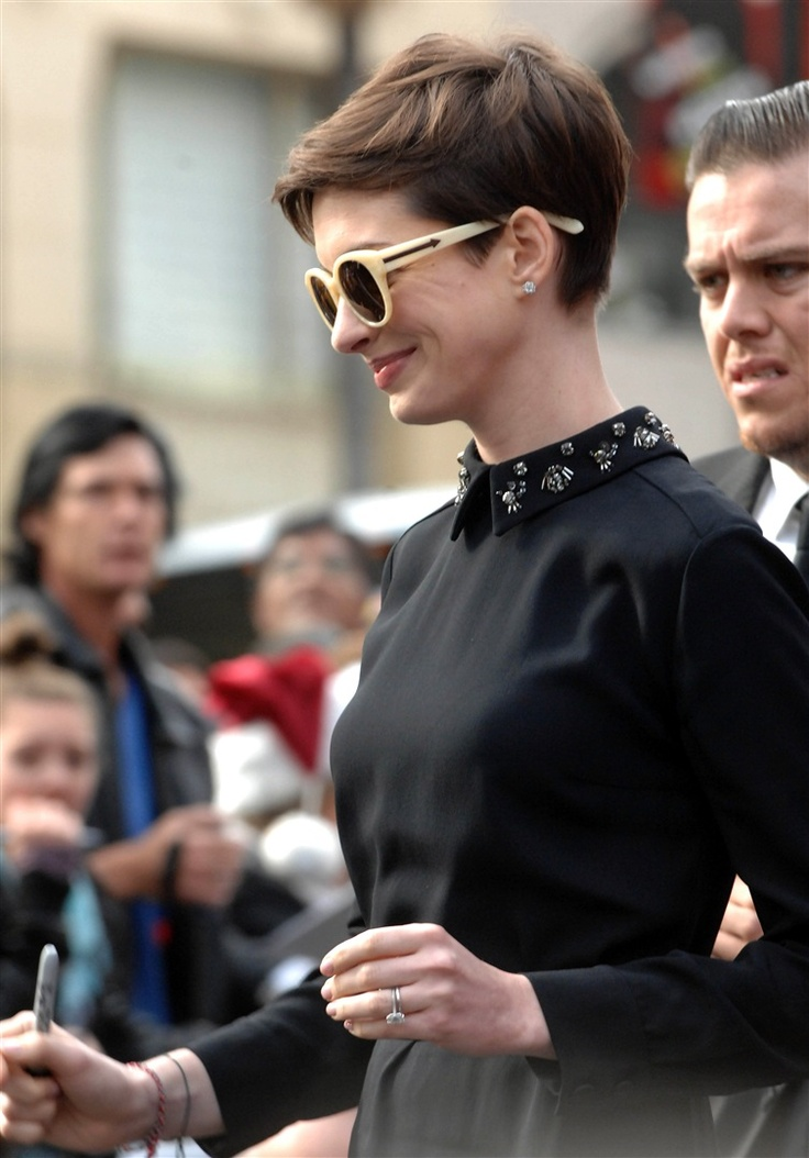 anne hathaway embellished collar short hair beauty
