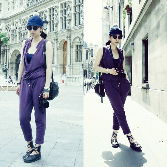 Kombai Hat by COSTO / Get this look: http://lb.nu/look/7600010 More looks by Petrina Hsieh: http://lb.nu/user/5274128-Petrina-H  Items in this look:  Costo Denim Hat, Stefanel Purple Jumpsuit, Cos Leather Bag, Trippen Leather Shoes   #casual #chic #street