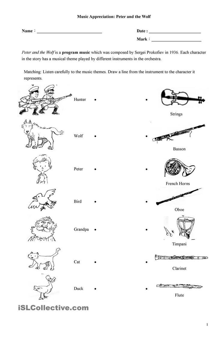 worksheet Peter And The Wolf Worksheet 99 best music education images on pinterest teachers peter and the wolf worksheet esl