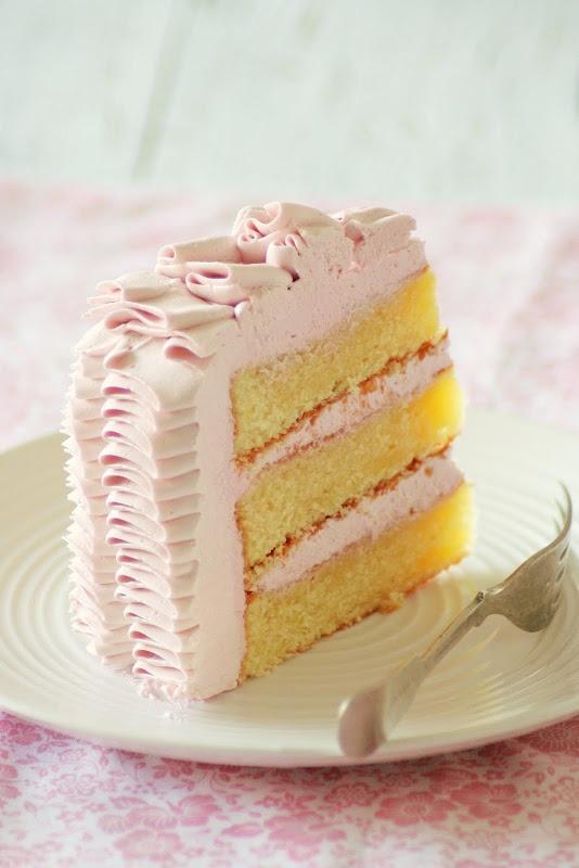 Beautiful lemon-raspberry ruffle cake.  Look at the ruffles! Friends, please have baby girls soon!