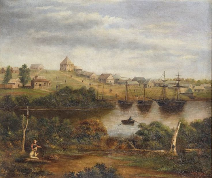 Artists Depiction of Melbourne from the South Bank of the Yarra in 1840
