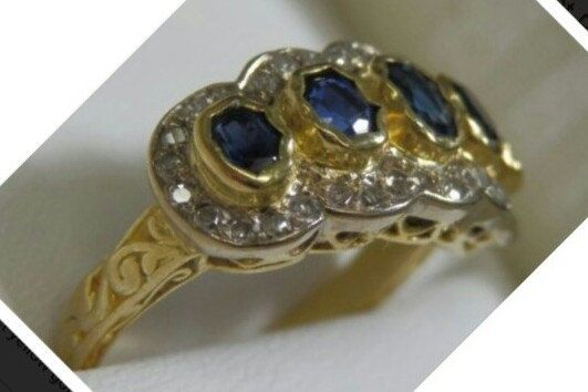 18K Gold Sapphires & Diamonds Antique Engagement Ring, Size M or 6,