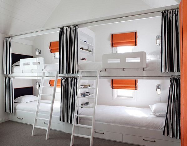 Adult Loft Beds - I like the window, little curtain and lamp for each bed...and the outer curtain for each bed for privacy, too!