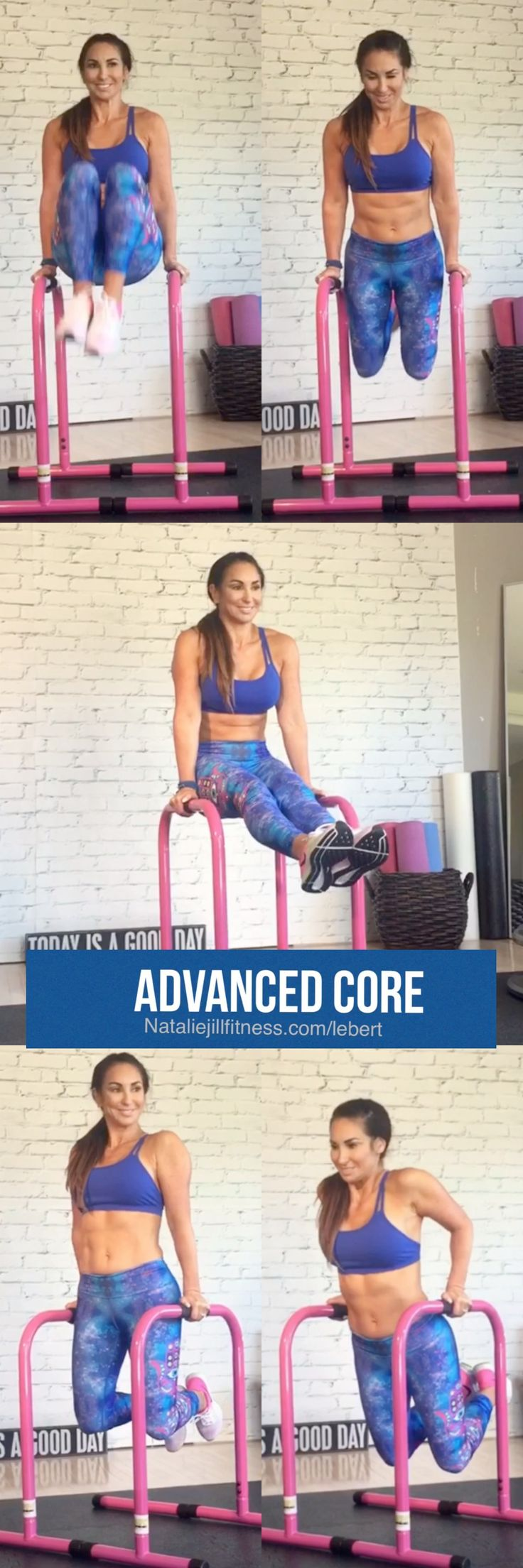 Advanced core Today! Using bars, support your body between the bars with your arms, knees bent. Bring your knees toward your waist then lower back down.  Then extend your legs straight out and hold the position.  Next, with legs down and your knees bent, bend your elbows lowering your body then push back up doing tricep dips. Are you IN?!