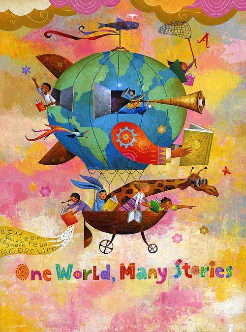 The book: one world, many stories / El libro: un mundo, muchas historias (ilustración de Rafael López) Via:presentingbooks