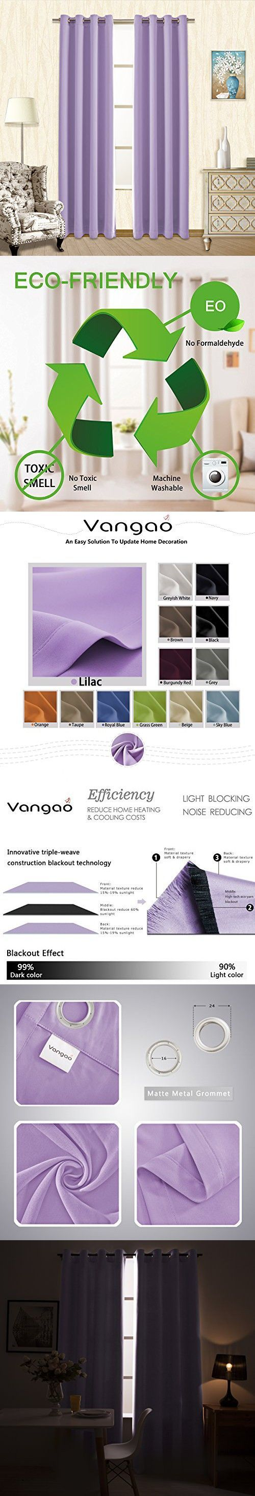 Vangao Lilac Blackout Curtains 52x63 Inch 2 Panels Kids Room Darkening Thermal Insulated Solid Grommet Top Drapes/Panels for Bedroom/Living Room