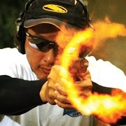 Muzzle flash on the Rock Island Armory 1911 .22 TCM.   This thing is a flame thrower!