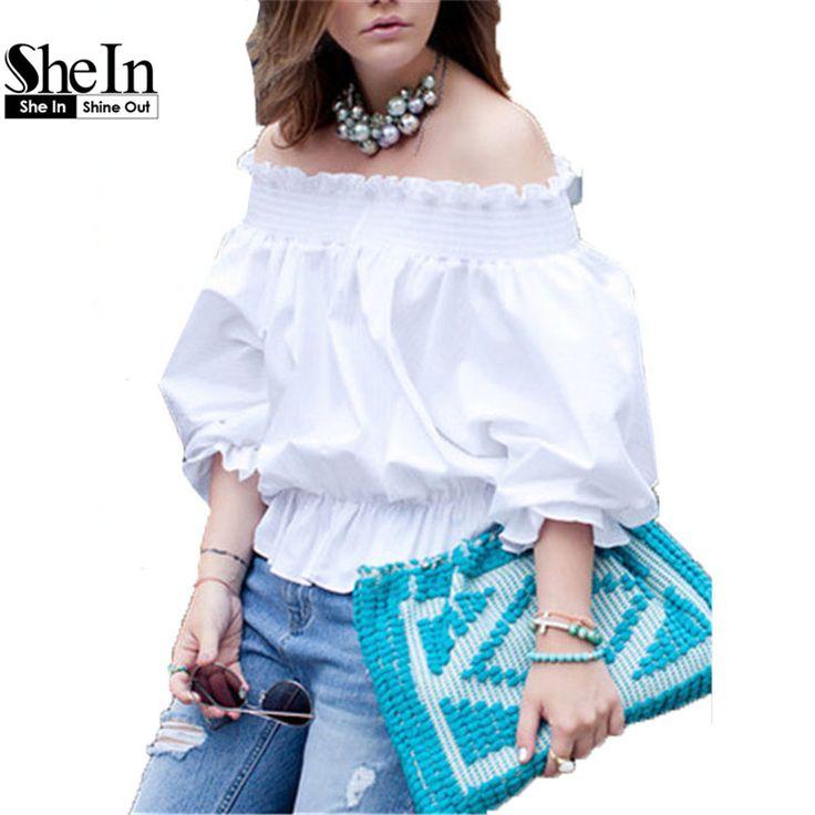 Cheap Shein corea ropa de moda Casual Tops para mujeres calientes de la venta Plain White fuera del hombro Bow volver manga larga…