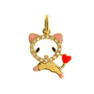 Liontin Berlian dan Emas 75% Jumping Cat Heart