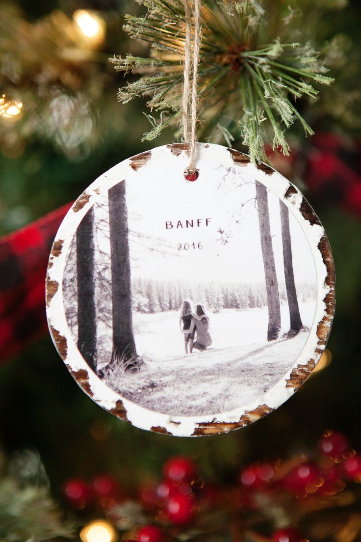 Plaid monograms natural wood ornaments feathers and i couldn t - 10 Minute Photo Keepsake Ornaments