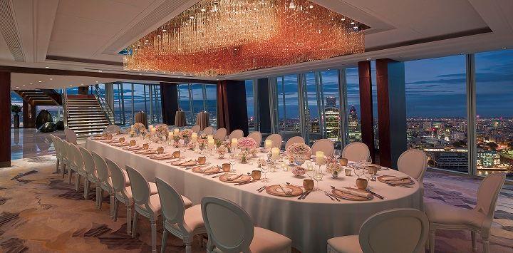 Ren long table set-up at Shangri-La Hotel, At The Shard, London.