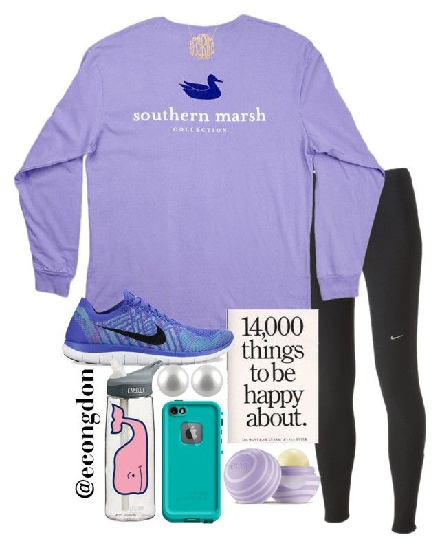 """""""14,000 things to be happy about."""" by econgdon ❤ liked on Polyvore featuring NIKE, Splendid Pearls, CamelBak, Vineyard Vines and Eos"""