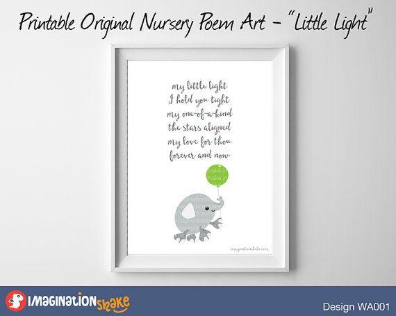 Original Nursery Poem Elephant Wall Art by ImaginationShake