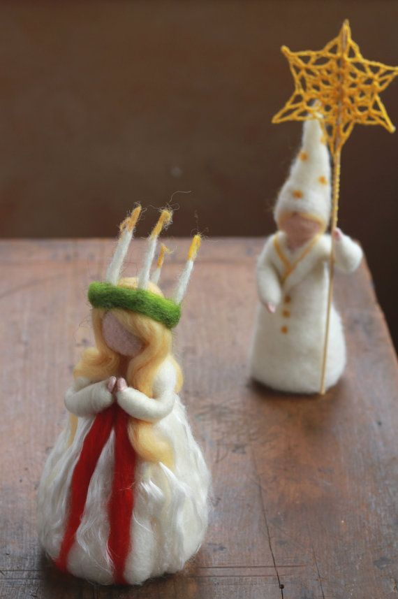 Needle Felted Santa Lucia LUCIA Saint Lucy by CloudBerryCrafts