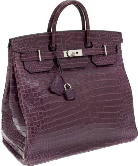 "Hermes Extremely Rare 40cm Matte Amethyst Porosus Crocodile HAC Birkin Bag with Palladium Hardware. Pristine Condition; 16"" Width x 14"" Height x 9"" Depth. Photo Heritage Auctions"