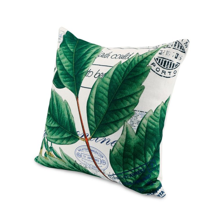 Cotton Linen Square Throw Pillow Case Tropical Leaf Plant Pillows Decorative Pillowcase Cushion Cover for Sofa Couch Bed, 18 x 18 (Insert Including)