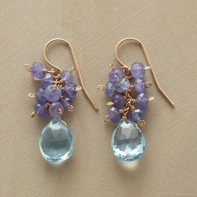 BLUEBERRY EARRINGS�--�Thoi Vo wires tanzanite rondelles in a berry- like cluster above beautiful blue topaz. Handmade in USA with 14kt goldfilled French wires. 1-1/4L. �