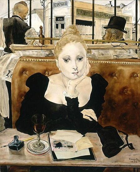 "In the Cafe (1949) by Foujita Tsugouharu (1886-1968), Japanese/French-he applied Japanese ink techniques to Western style paintings. He has been called ""the most important Japanese artist working in the West during the 20th century"". He moved to Montparnasse, Paris in 1913 and worked with many other artists there of the ""School of Paris"", enjoying great success (wiki)- (still life quick heart)"