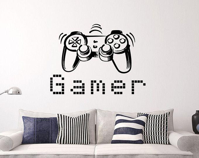 Gamer pared calcomanía controladores de juego juego a vinilo etiqueta etiquetas videojuegos niño habitación decoración dormitorio hombres regalo dormitorio dormitorio Gamer regalos Decor x26