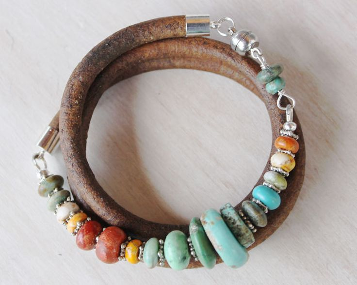 Leather Wrap Bracelet--what I like are the colors