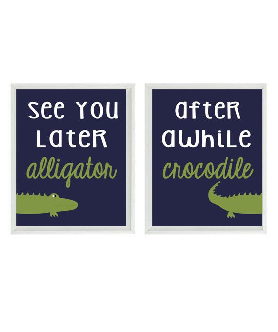 Alligator Nursery Wall Art Print Set See You by RizzleandRugee
