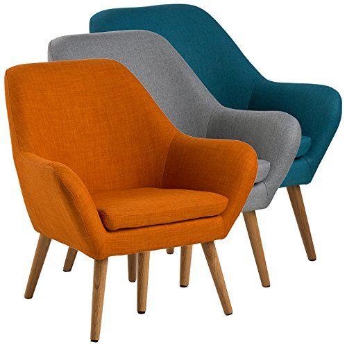 Loungestuhl im Retrodesign Bezug aus hochwertigem Stoff Beine aus geöltem Eichenholz