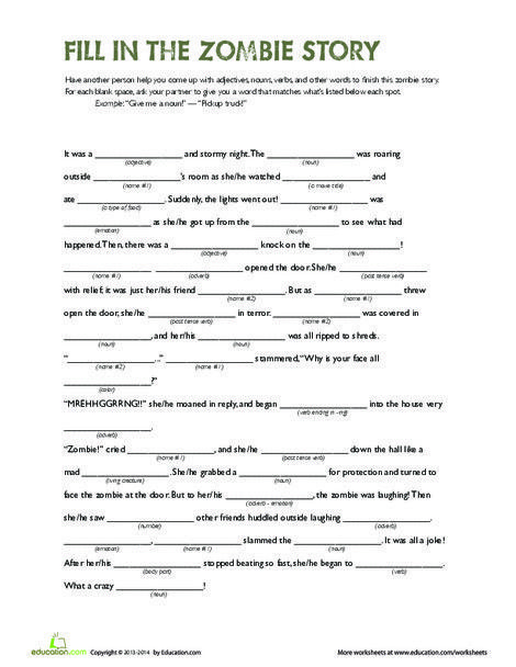 Fill in the Zombie Story | Halloween Frights | Writing worksheets ...