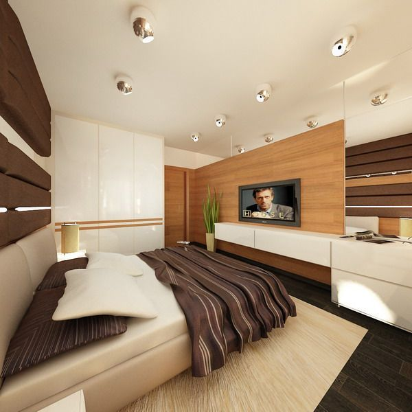 Bedroom with TV Stands and Ceiling Lighting at Male Apartment Interior Decorating by Valerie Stennikovoy, Photo  Bedroom with TV Stands and Ceiling Lighting at Male Apartment Interior Decorating by Valerie Stennikovoy Close up View.