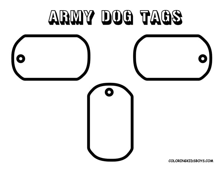 Historic Army Coloring Page Army Dog Tag Army Dogs Dog Tags