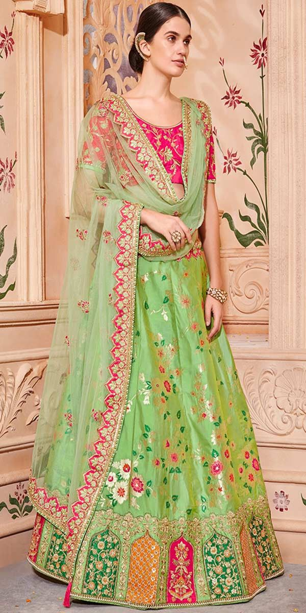 fd15cd483d Marvelous Parrot Green And Rani Pink Silk Lehenga Choli. #lehenga #lehengas  #weddingwear #bridalwear #partywear #partywearlehenga #indianwedding ...