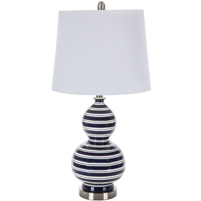 Blue White Striped Finial Lamp With Images White Lamp Shade