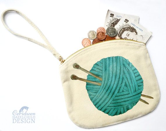 Wool Canvas Zip Purse Makeup Bag Coin Purse Small Accessory Pouch by ceridwenDESIGN http://ift.tt/1pRP88S