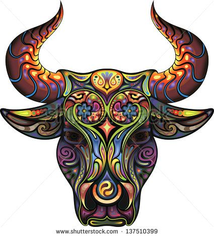 Bull. Silhouette of a head of a Bull collected from plant ornament variegated colors.