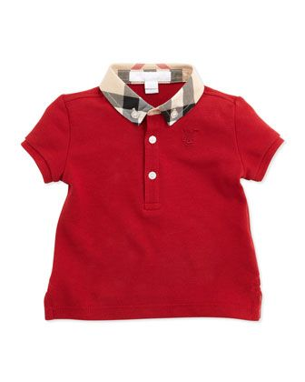 Mini Pique Polo Shirt, Red by Burberry at Neiman Marcus.